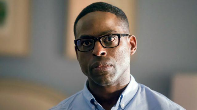 "A frowning Sterling K. Brown as Randall Pearson on NBC's ""This is Us"""