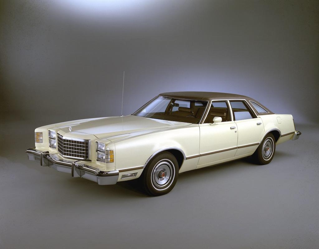 A 1977 Ford LTD II on display.