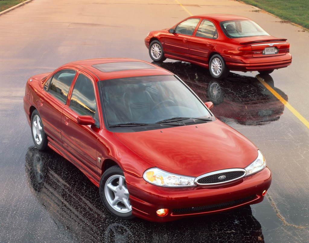 The 1998 Ford Contour SE and SVT displayed in an advertisement.