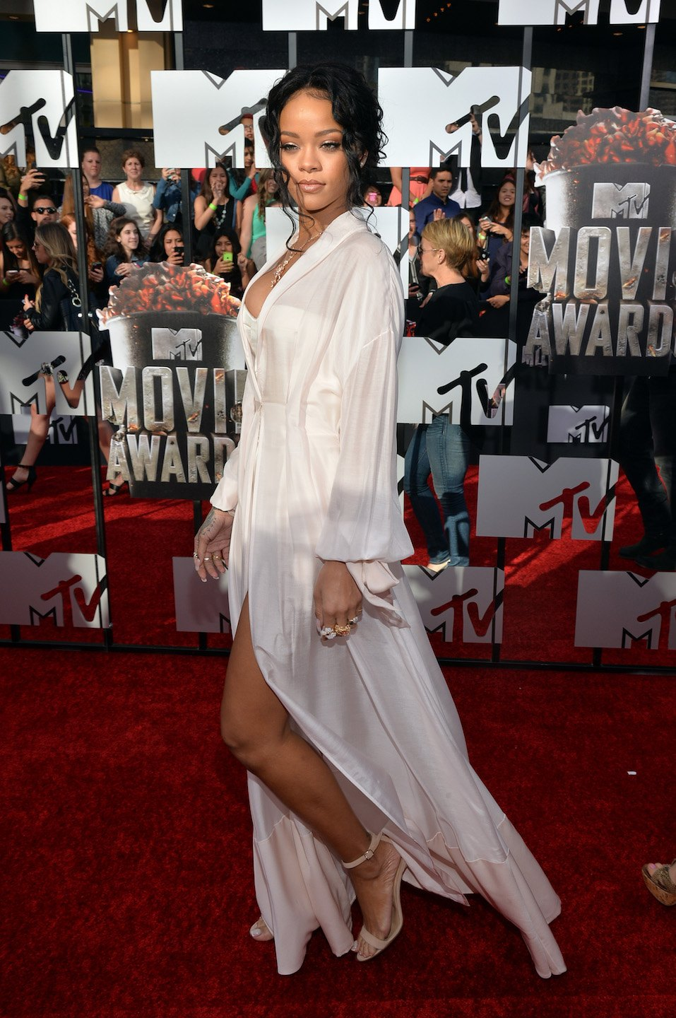 Rihanna attends the 2014 MTV Movie Awards at Nokia Theatre L.A.