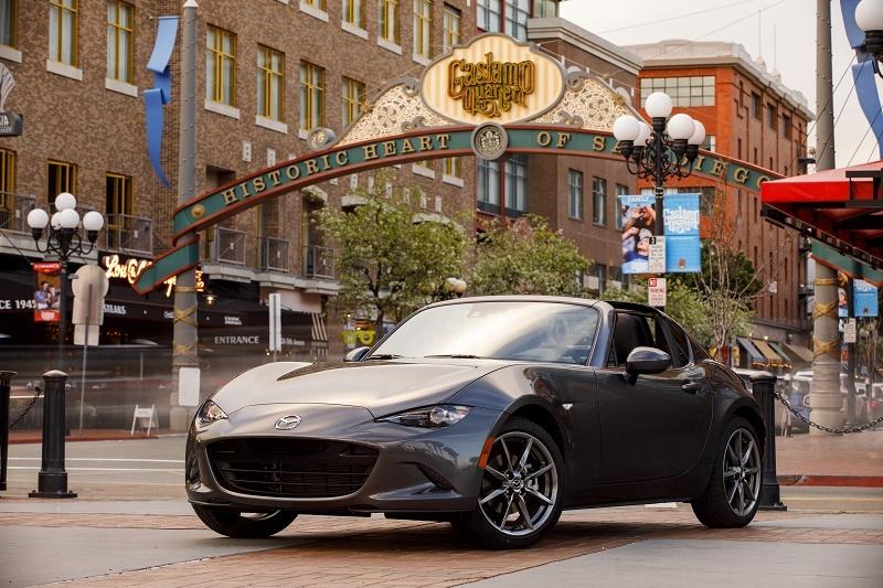 Shot of Mazda Miata retractable fastback in San Diego