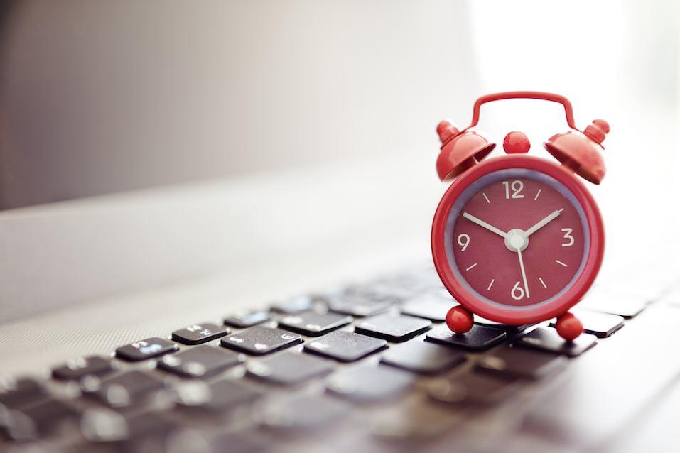 Alarm clock on laptop