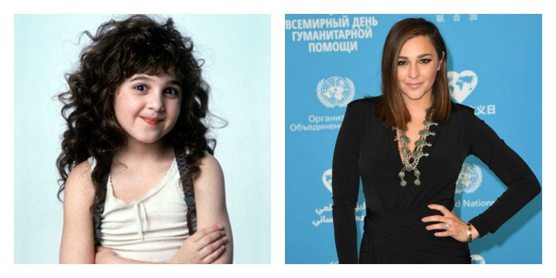 On the left is a picture of Alisan Porter as Curly Sue. On the right is a picture of Alisan Porter on the red carpet.