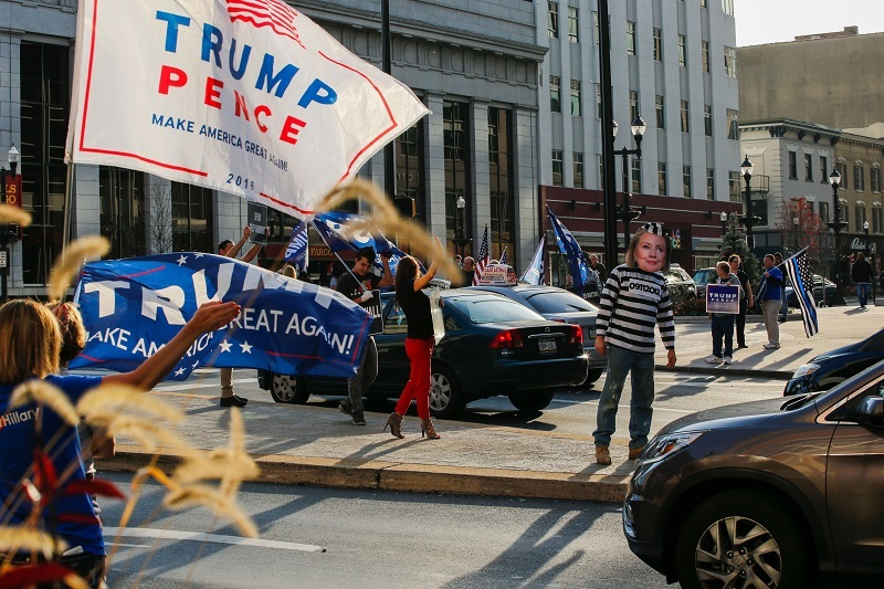 Trump supporters on the streets of Allentown, Pennsylvania