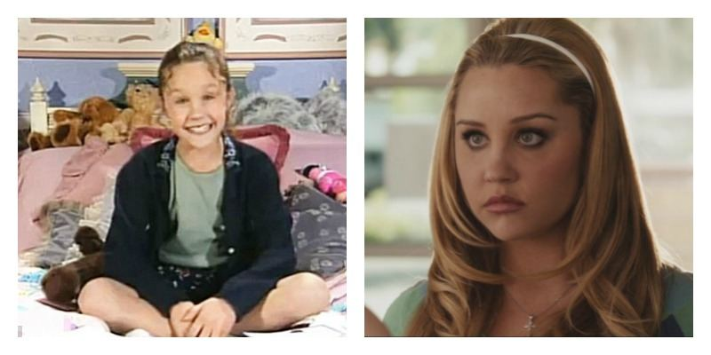 On the left is a picture of Amanda Bynes sitting on a bed in All That. On the right is Amanda Bynes in Easy A.