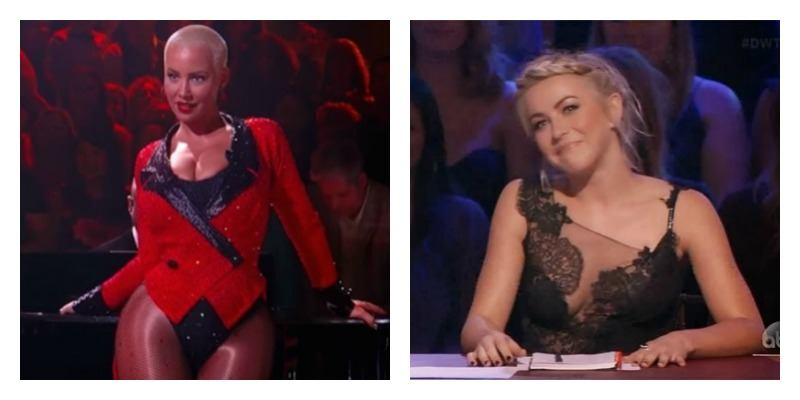 On the left is a picture of Amber Rose dancing on Dancing with the Stars. On the right is a picture of Julianne Hough at the judge panel on Dancing with the Stars.