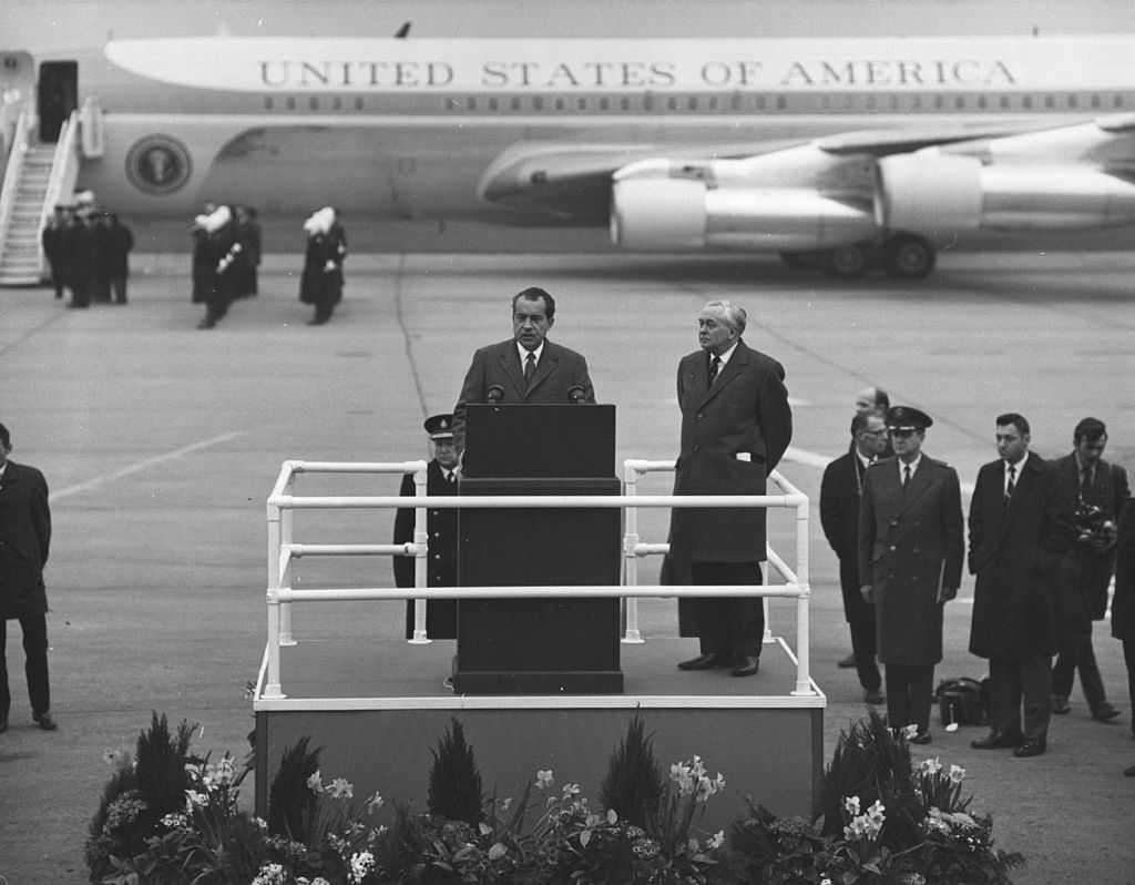 Richard Nixon gives a speech.