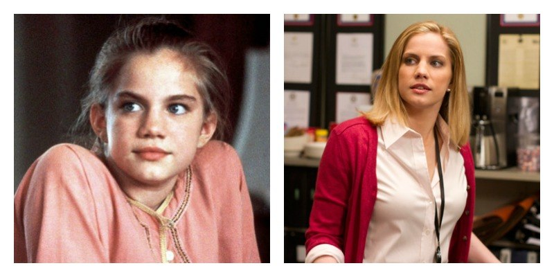 On the left is a picture of Anna Chlumsky in My Girl. On the right is a picture of Anna Chlumsky in Veep.