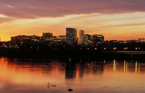 Arlington, Virginia, skyline at sunset