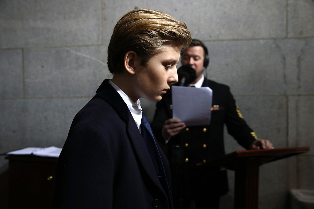 Barron Trump arrives on the West Front of the U.S. Capitol for Donald Trump's inauguration ceremony