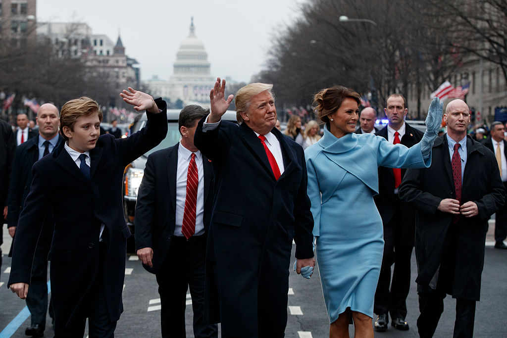 U.S. President Donald Trump with first lady Melania Trump and son Barron Trump