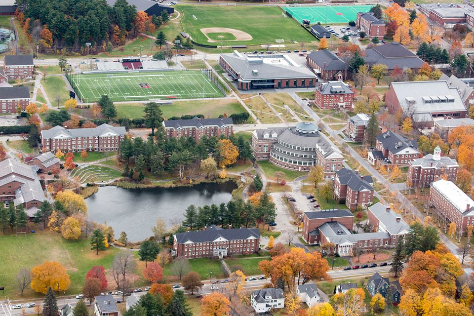 An aerial view of Bates College
