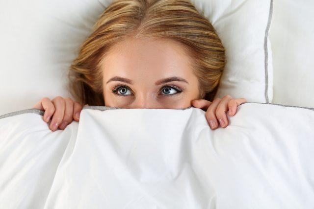 woman in her bed