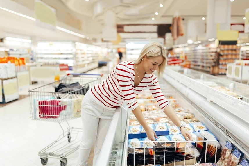 woman shopping and choosing food
