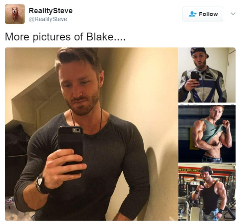 A tweet from Reality Steve showing multiple pictures of Blake posing