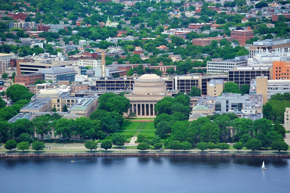 An aerial view of MIT