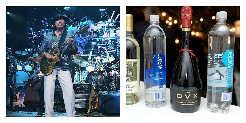 On the left is a picture of Carlos Santana playing guitar. On the right is a picture of Heitz Cellar wine, smartwater and DVX wine on display
