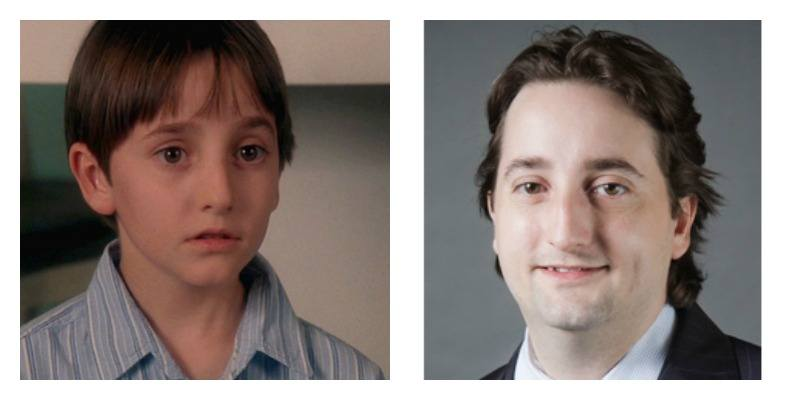 On the left is Charles Korsmo in Hook. On the right is Charles Korsmo smiling in a professional photo all grown up.