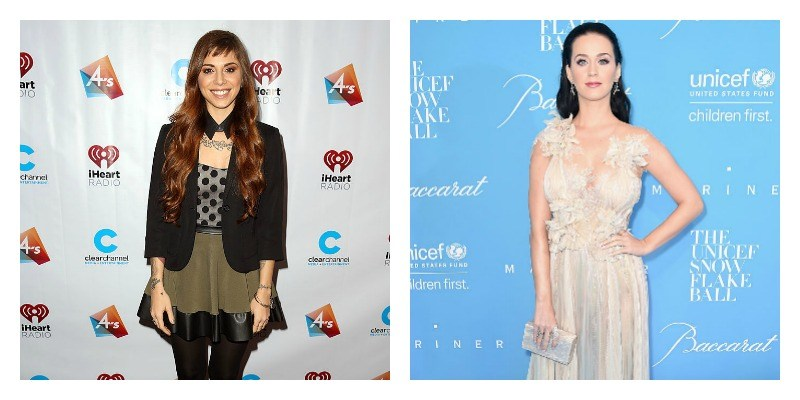 On the left is a picture of Christina Perri on the red carpet. On the right is a picture of Katy Perry on the red carpet.