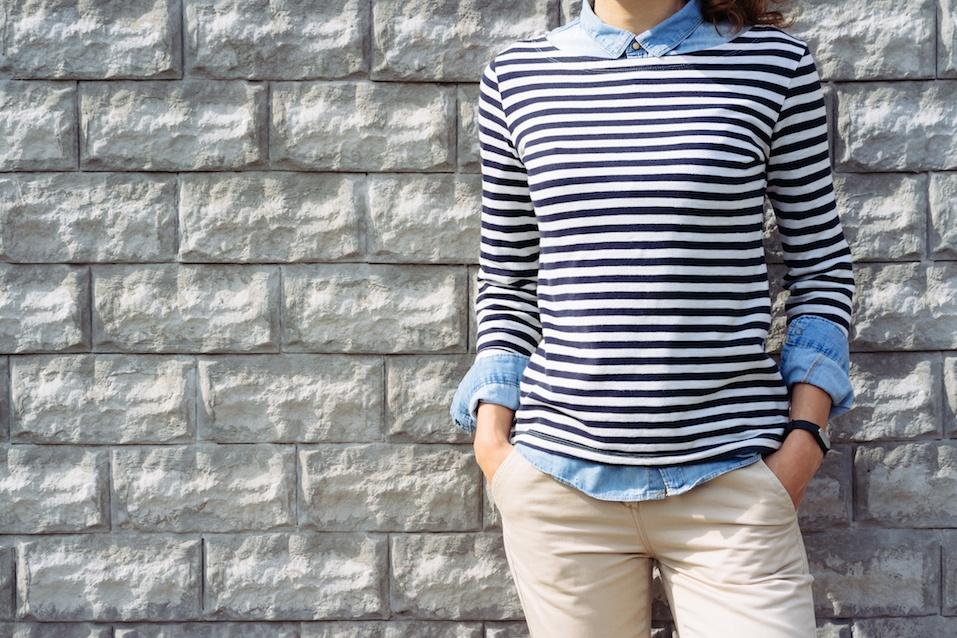 Woman in a denim shirt, striped t-shirt