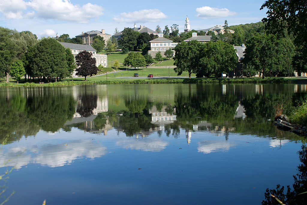 A view of Colgate University across Taylor Lake
