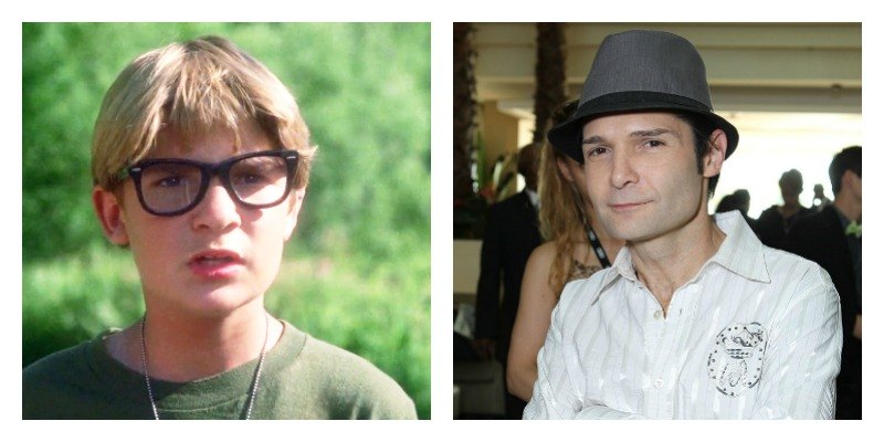On the left is a picture of Corey Feldman in Stand by Me. On the right is a picture of Corey Feldman in 2012.