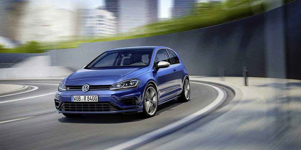 View of blue Volkswagen Golf R on the track