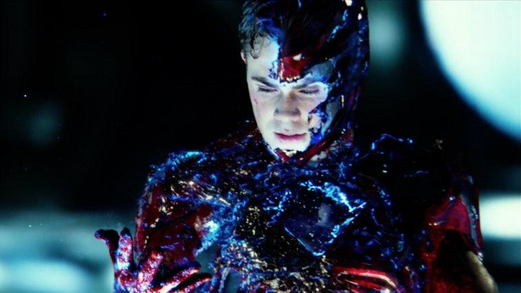 Dacre Montgomery covered in a strange substance in Power Rangers