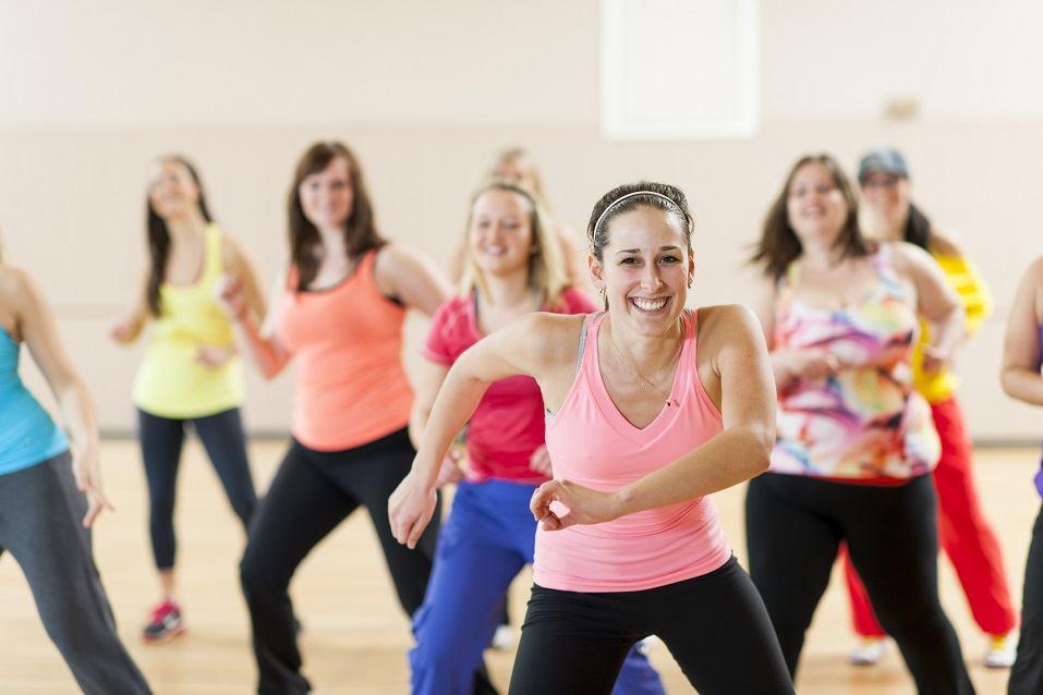 Women in dance fitness class