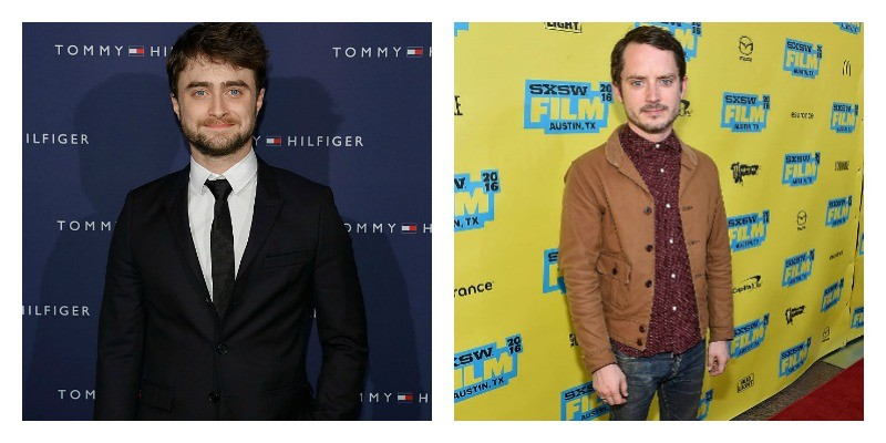 On the left is a picture of Daniel Radcliffe in a suit on the red carpet. On the right is a picture of Elijah Wood on the red carpet.