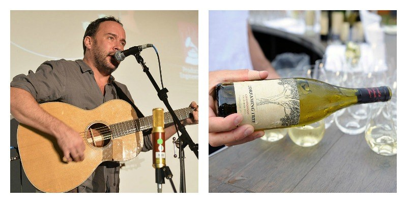 On the left is a picture of Dave Matthews playing the guitar and singing. On the right is a bottle of Dreaming Tree being poured.