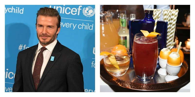 On the left is a picture of David Beckham on the red carpet. On the right is a picture of a glass of Haig Club Scotch