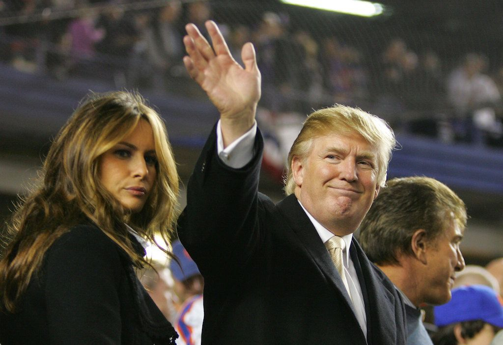 Donald Trump attends a Mets playoff game.