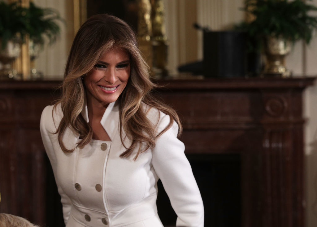 U.S. first lady Melania Trump arrives at the East Room of the White House.
