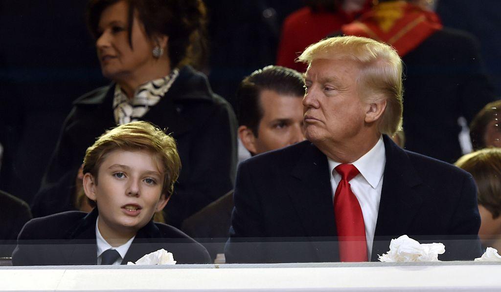 U.S. President Donald Trump and his son Barron Trump