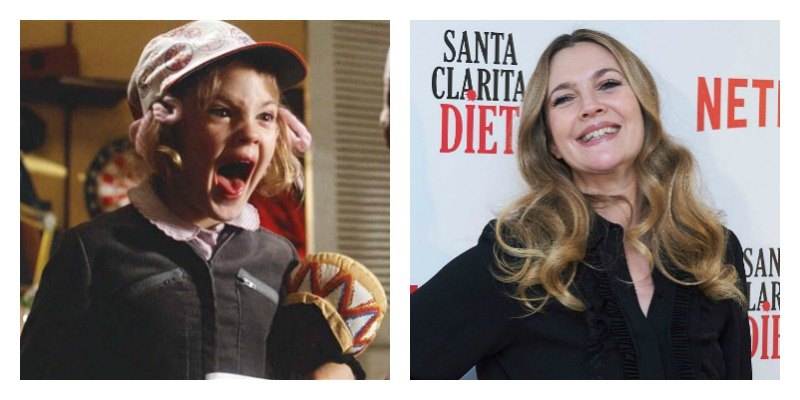 On the right is a picture of Drew Barrymore screaming in E.T. the Extra-Terrestrial. On the right is a picture of Drew Barrymore on the right carpet.