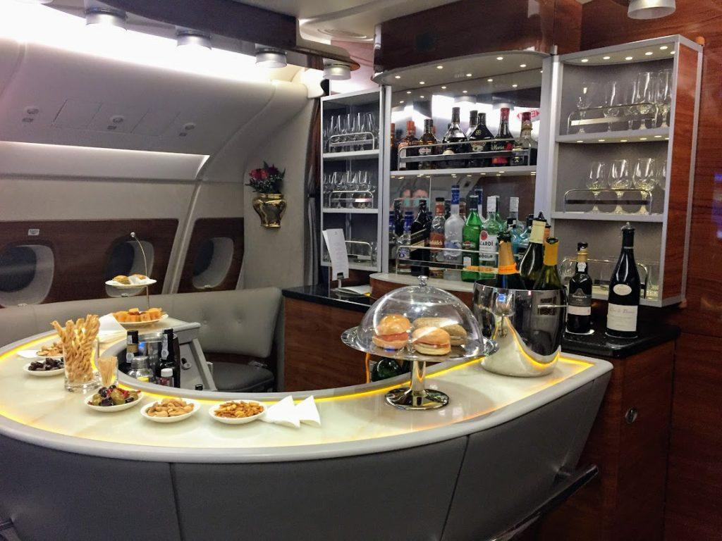 business class lounge on Emirates planes