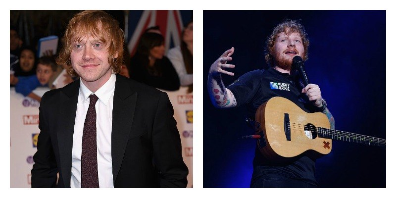 On the left is a picture of Rupert Grint in a suit on the red carpet. On the right is a picture of Ed Sheeran on stage with his guitar.