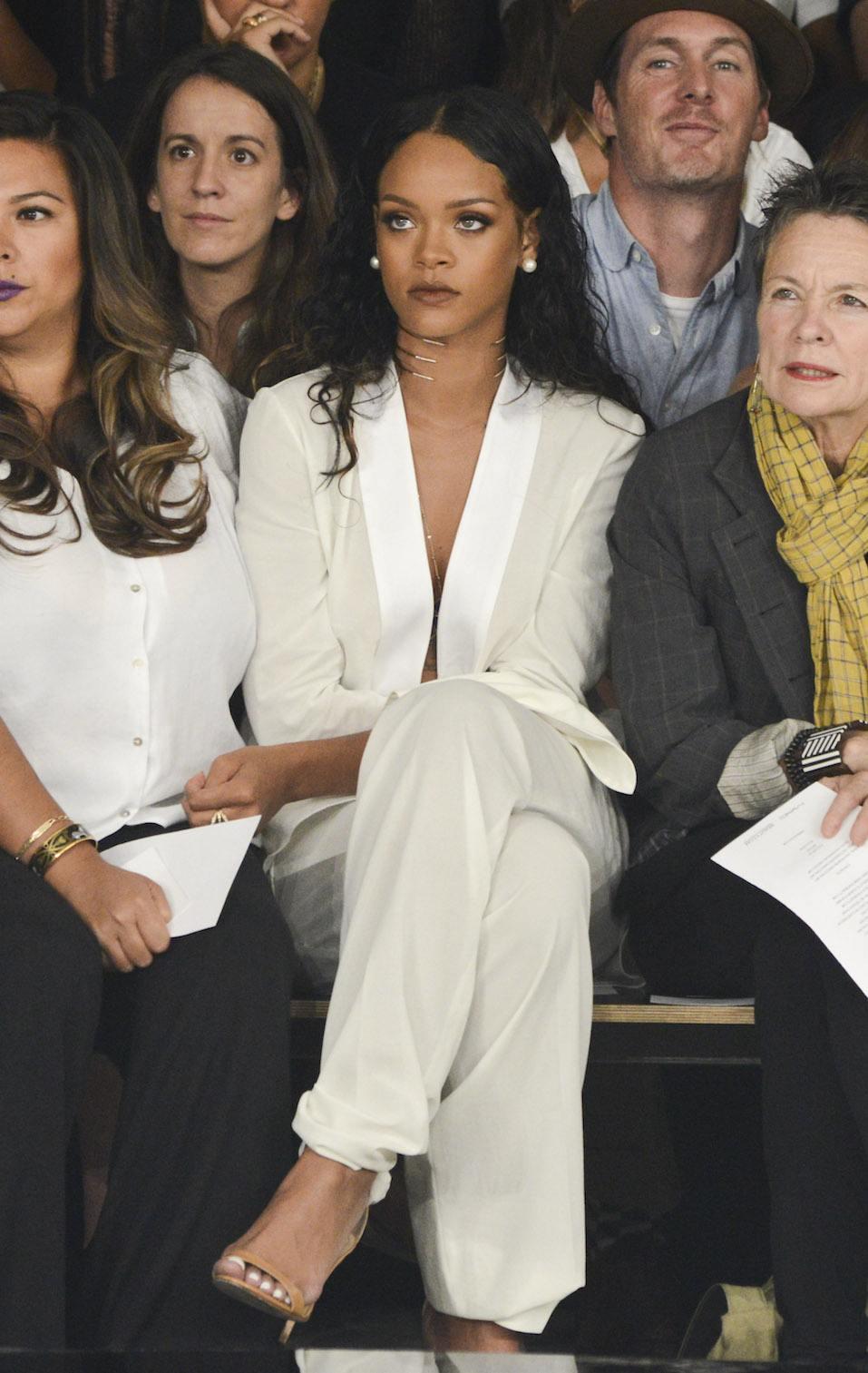 Rihanna attends the Edun fashion show