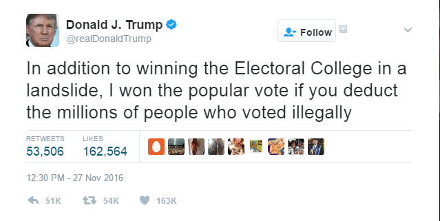 One of Donald Trump's tweets on the popular vote