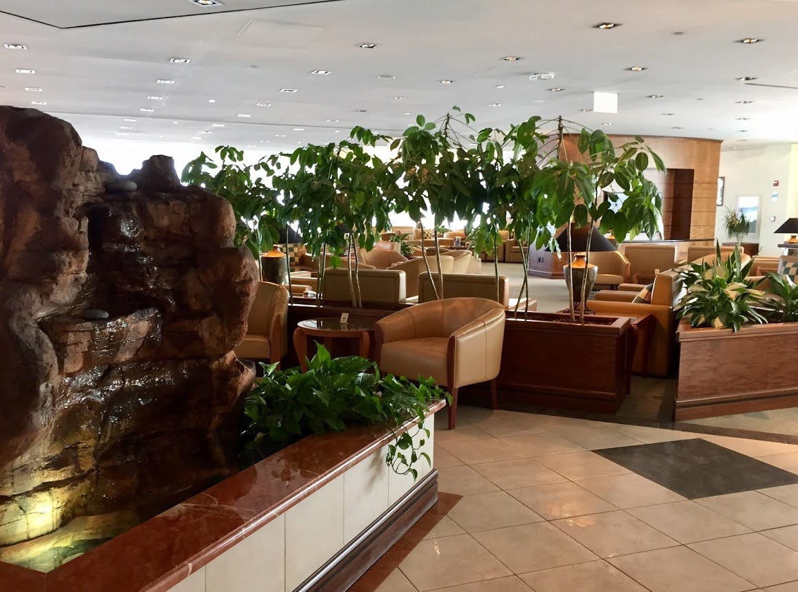 Emirates business class lounge entrance at JFK airport
