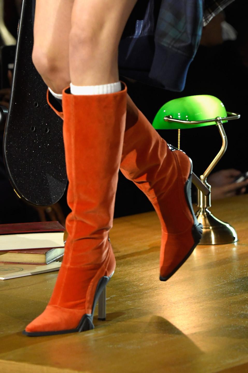A model, boot detail, walks the runway during FENTY PUMA by Rihanna