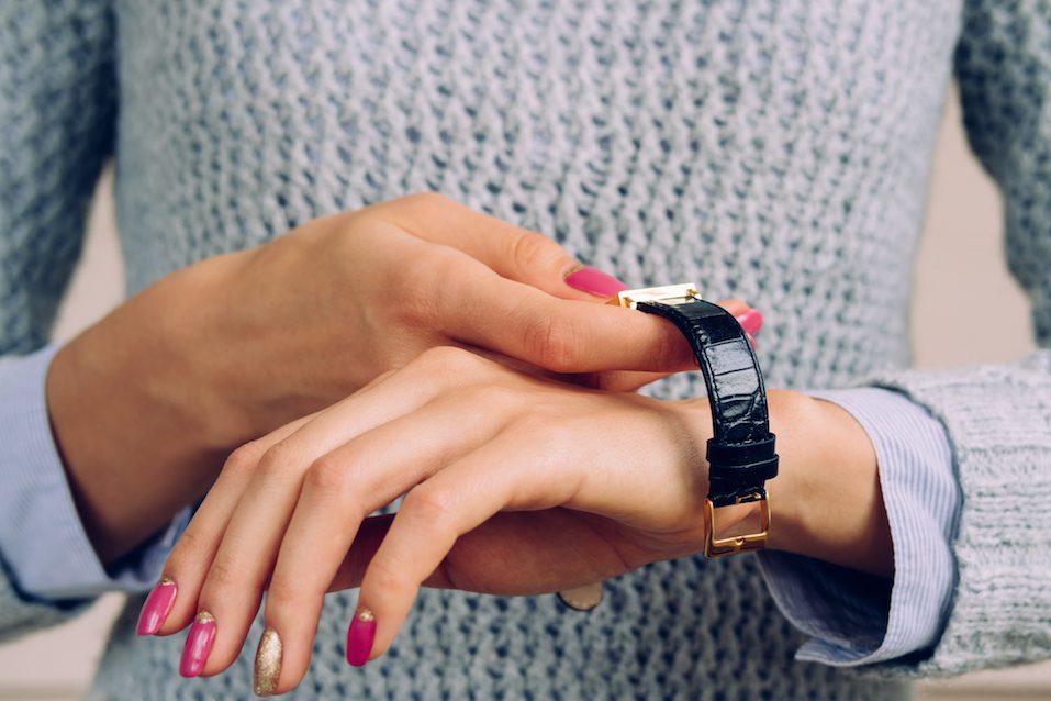 watch on the wrist