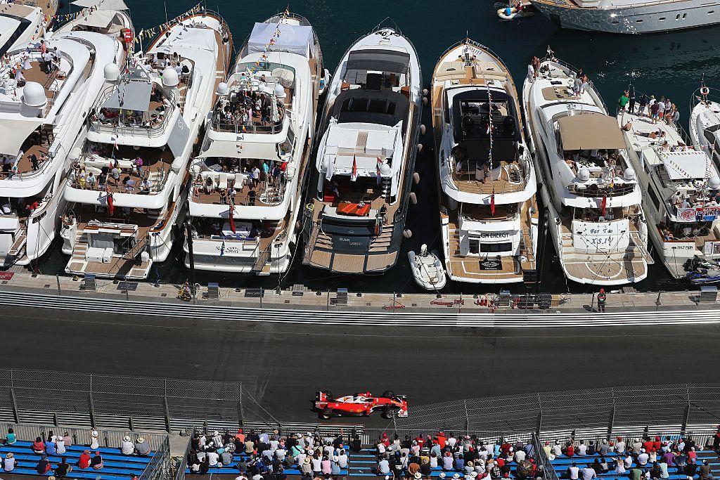 Ferrari's German driver Sebastian Vettel drives during the qualifying session at the at the Monaco street circuit