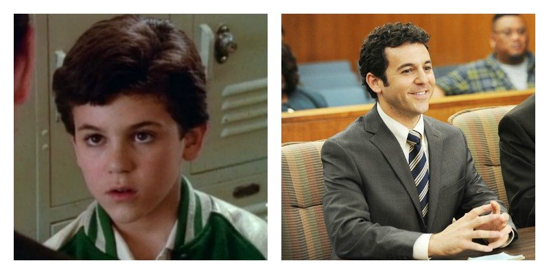 On the left is a picture of Fred Savage in The Wonder Years. On the right is a picture of Fred Savage in The Grinder.
