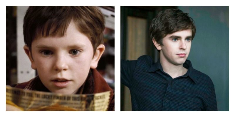 On the left is a picture Freddie Highmore in Charlie and the Chocolate Factory. On the right is a picture of Freddie Highmore in Bates Motel.