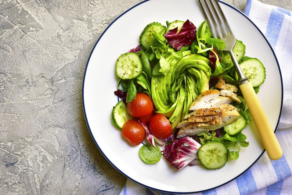 Fresh green salad with grilled chicken