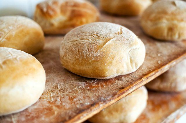 Freshly baked round loaves