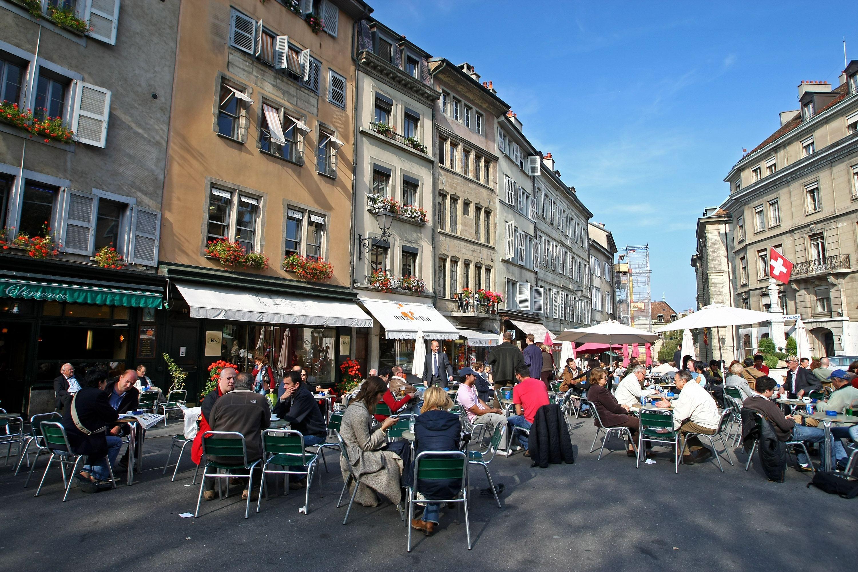 a sidewalk cafe in geneva, switzerland