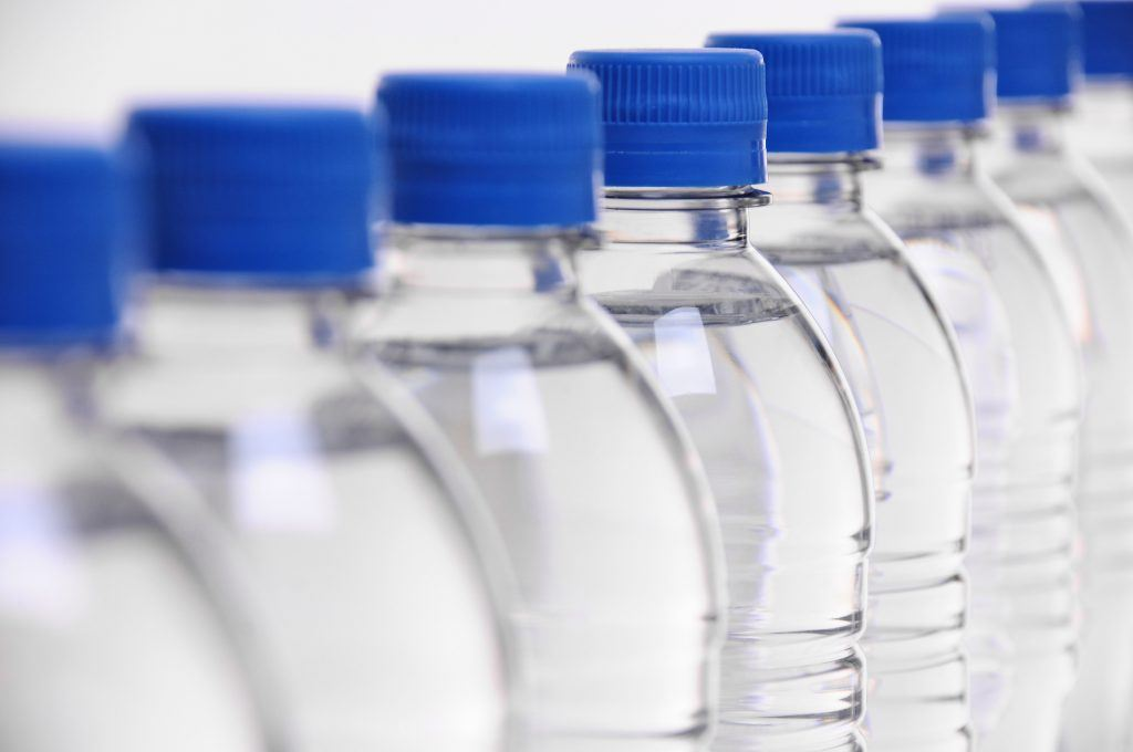 Row of water bottles